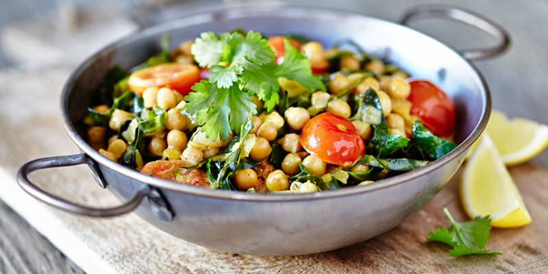 Quick chickpea, spring green and coconut curry
