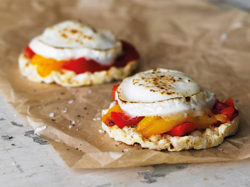 Grilled goat's cheese and roasted peppers