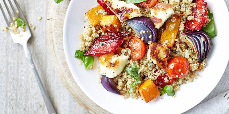 Quinoa salad with roasted Mediterranean vegetables and halloumi