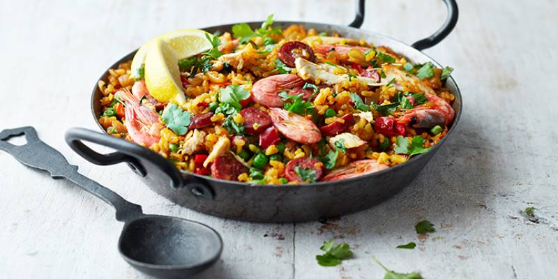 Easy baked paella with chorizo, chicken and prawns