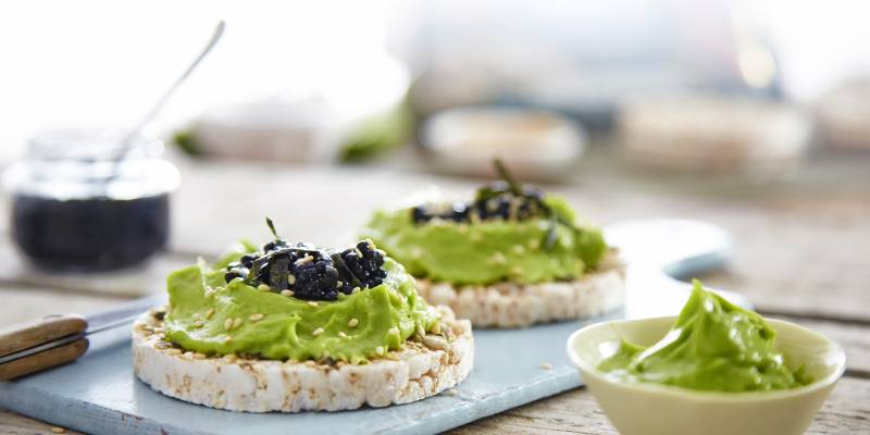 Wasabi avocado and caviar