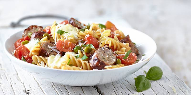 Easy peasy sausage, tomato and mozzarella pasta