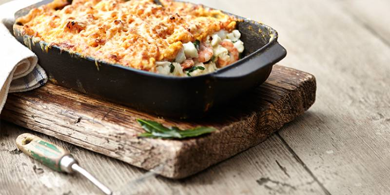 Haddock and prawn fish pie with sweet potato mash