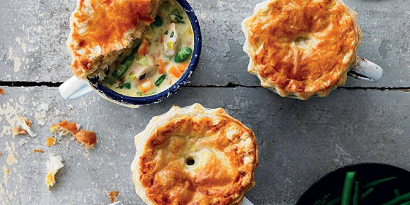 Chicken & asparagus pot pies